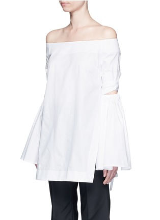 Front View - Click To Enlarge - Ellery - 'Cyril' cutout cone sleeve off-shoulder cotton poplin top