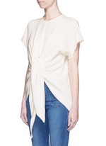 'Kitty' tie front crepe top