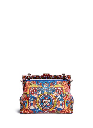 Back View - Click To Enlarge - Dolce & Gabbana - 'Vanda' Carretto Siciliano print leather clutch