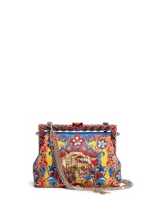 Main View - Click To Enlarge - Dolce & Gabbana - 'Vanda' Carretto Siciliano print leather clutch