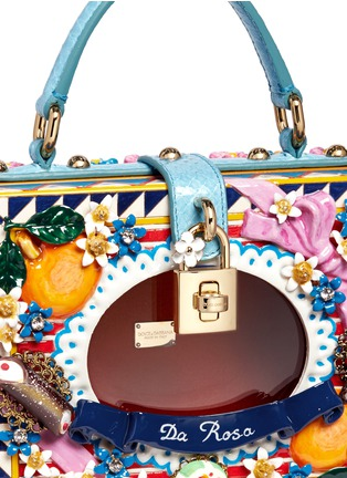 Detail View - Click To Enlarge - Dolce & Gabbana - 'Dolce Box' python trim floral relief bag