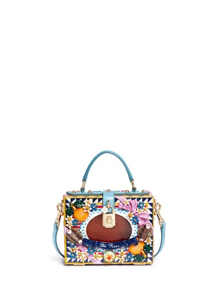 Main View - Click To Enlarge - Dolce & Gabbana - 'Dolce Box' python trim floral relief bag