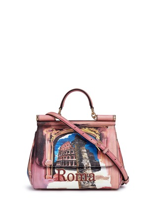 Main View - Click To Enlarge - Dolce & Gabbana - 'Miss Sicily' medium Roma print Dauphine leather satchel