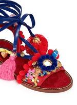 'Bianca' Sicilian cartwheel appliqué leather sandals