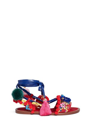 Main View - Click To Enlarge - Dolce & Gabbana - 'Bianca' Sicilian cartwheel appliqué leather sandals
