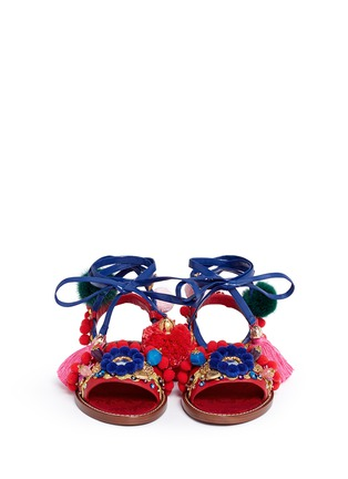 Figure View - Click To Enlarge - Dolce & Gabbana - 'Bianca' Sicilian cartwheel appliqué leather sandals
