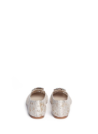 Back View - Click To Enlarge - Dolce & Gabbana - Jewel brooch Taormina lace flats