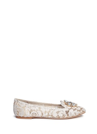 Main View - Click To Enlarge - Dolce & Gabbana - Jewel brooch Taormina lace flats