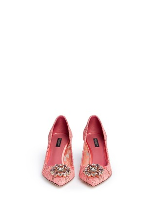 Front View - Click To Enlarge - Dolce & Gabbana - 'Bellucci' jewel brooch Taormina lace pumps