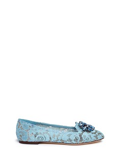 Dolce & GabbanaJewel brooch Taormina lace flats