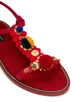 Pompom floral appliqué T-strap leather sandals