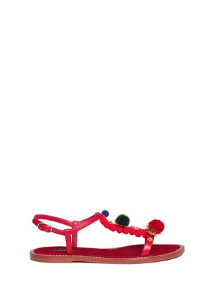 Main View - Click To Enlarge - Dolce & Gabbana - Pompom floral appliqué T-strap leather sandals
