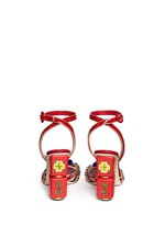 Embellished braided straw patent leather sandals