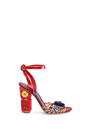 Main View - Click To Enlarge - Dolce & Gabbana - Embellished braided straw patent leather sandals