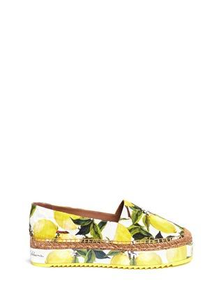 Main View - Click To Enlarge - Dolce & Gabbana - Lemon print brocade flatform espadrille slip-ons