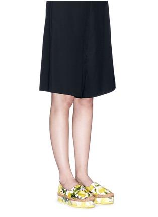 Figure View - Click To Enlarge - Dolce & Gabbana - Lemon print brocade flatform espadrille slip-ons