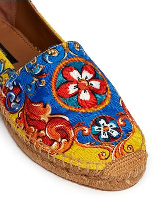 Detail View - Click To Enlarge - Dolce & Gabbana - Sicilian Carretto print floral brocade espadrilles