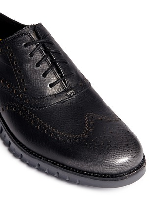 Detail View - Click To Enlarge - Cole Haan - 'ZeroGrand' wingtip brogue saffiano leather Oxfords