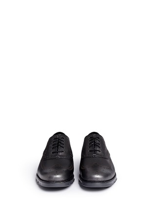 Front View - Click To Enlarge - Cole Haan - 'ZeroGrand' wingtip brogue saffiano leather Oxfords