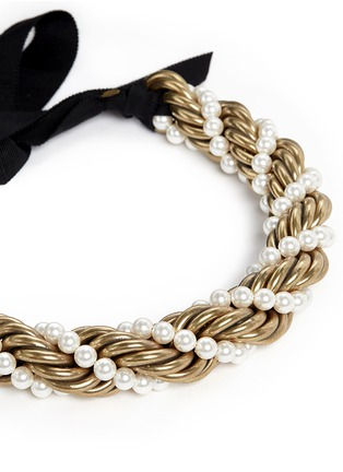 Lanvin - 'Virna' glass pearl metal rope collar necklace