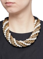 'Virna' glass pearl metal rope collar necklace