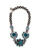 'Lucrezia' glass stone pewter collar necklace