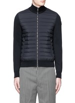 Quilted down front zip cardigan