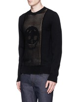 Skull crochet front wool sweater