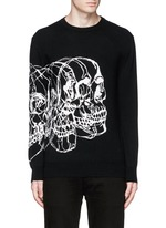 Skull sketch intarsia wool-cashmere sweater