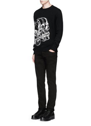 模特儿示范图 - 点击放大 - ALEXANDER MCQUEEN - 骷髅头图案羊毛混羊绒针织衫