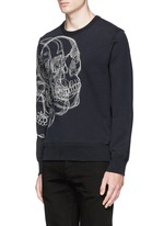 Skull sketch embroidery organic cotton sweatshirt