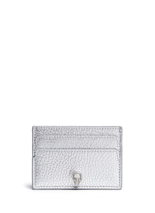 Main View - Click To Enlarge - Alexander McQueen - Skull metallic leather card holder