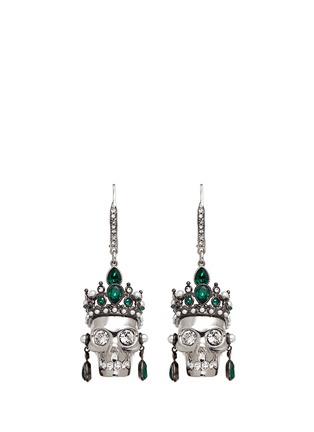 Main View - Click To Enlarge - Alexander McQueen - Swarovski crystal Royal skull earrings