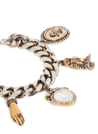 Detail View - Click To Enlarge - Alexander McQueen - Vintage effect charms bracelet