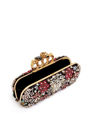 Detail View - Click To Enlarge - Alexander McQueen - Crystal flower satin knuckle clutch