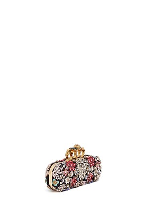 Front View - Click To Enlarge - Alexander McQueen - Crystal flower satin knuckle clutch