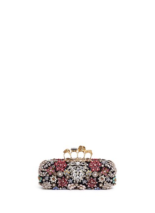 Main View - Click To Enlarge - Alexander McQueen - Crystal flower satin knuckle clutch