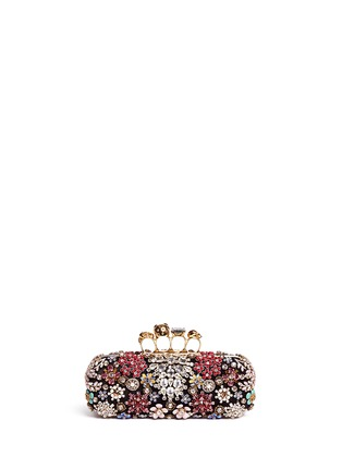 Figure View - Click To Enlarge - Alexander McQueen - Crystal flower satin knuckle clutch