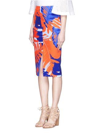Front View - Click To Enlarge - Nicholas - Palm print front split pencil skirt