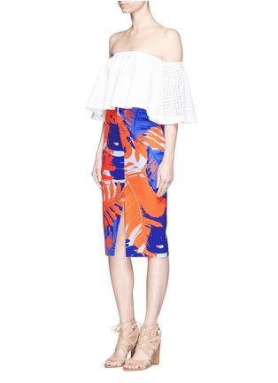 Figure View - Click To Enlarge - Nicholas - Palm print front split pencil skirt