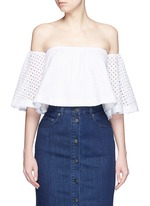 Broderie anglaise cotton off-shoulder top