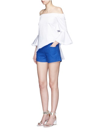 Figure View - Click To Enlarge - Nicholas - Tailored broderie anglaise shorts