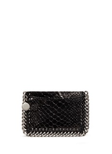 Stella McCartney 'Falabella' chain border snake effect card holder