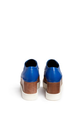 Back View - Click To Enlarge - Stella McCartney - 'Elyse' wood platform faux leather Derbies
