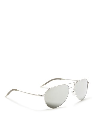 模特儿示范图 - 点击放大 - OLIVER PEOPLES - 'Benedict' double bridge aviator sunglasses