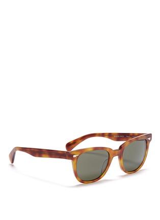 模特儿示范图 - 点击放大 - OLIVER PEOPLES - 'Masek' matte tortoiseshell acetate sunglasses