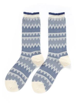 Main View - Click To Enlarge - HANSEL FROM BASEL - Zigzag stripe nylon crew socks