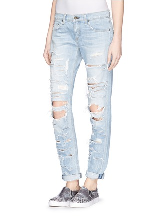 Front View - Click To Enlarge - rag & bone/JEAN - 'The Dre' extreme distressed skinny boyfriend jeans