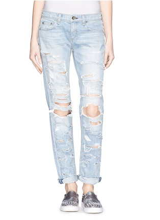 Main View - Click To Enlarge - rag & bone/JEAN - 'The Dre' extreme distressed skinny boyfriend jeans