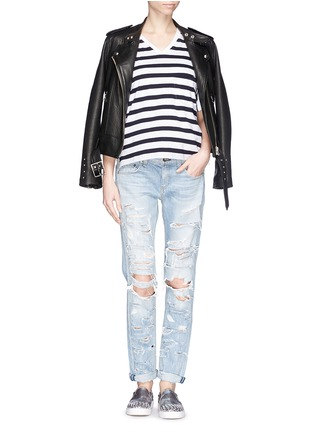 Figure View - Click To Enlarge - rag & bone/JEAN - 'The Dre' extreme distressed skinny boyfriend jeans
